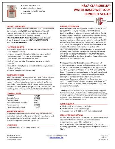 H&C® CLARISHIELD™ WATER-BASED WET-LOOK CONCRETE SEALER