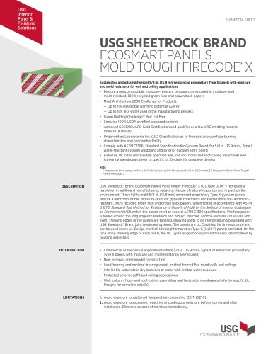 USG SHEETROCK®  BRAND ECOSMART PANELS MOLD TOUGH® FIRECODE®  X