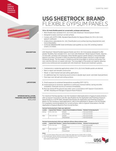 USG SHEETROCK®  BRAND FLEXIBLE GYPSUM PANELS