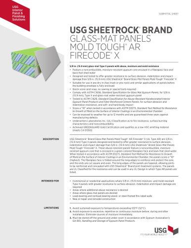 USG SHEETROCK®  BRAND GLASS-MAT PANELS MOLD TOUGH®  AR FIRECODE®  X