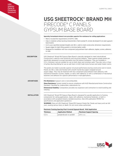 USG SHEETROCK® BRAND MH FIRECODE® C PANELS GYPSUM BASE BOARD