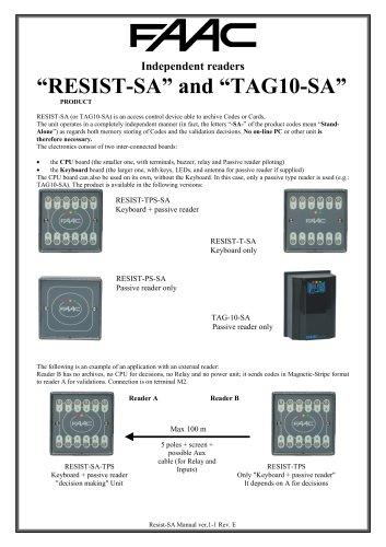 """RESIST-SA"""" and """"TAG10-SA"""