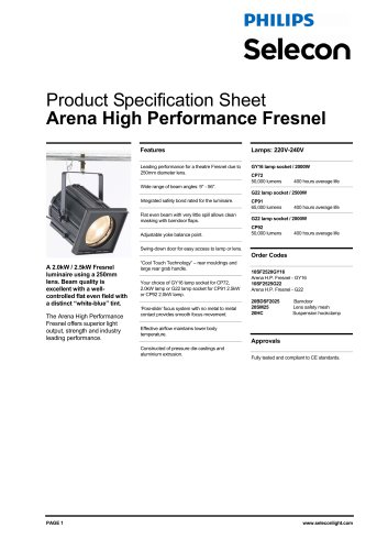 Arena PC / Fresnel - High Performance Fresnel 9-56 Degree (230V)