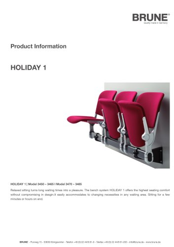 HOLIDAY 1 Model 3450-3485