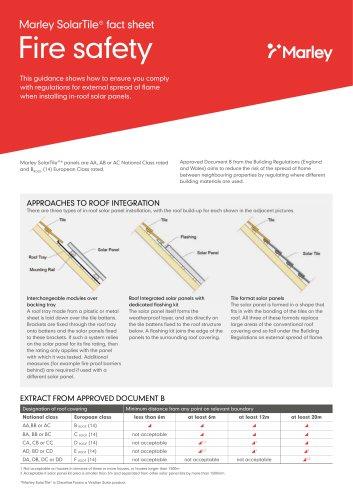 SolarTile® fact sheet Fire safety