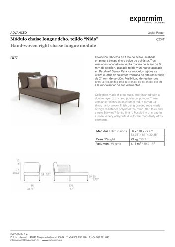 OUT:Nido Hand-woven right chaise longue module