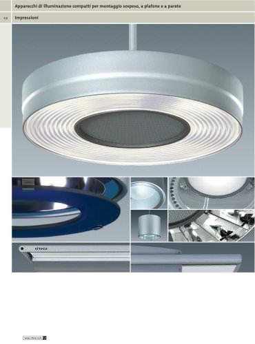 Apparecchi di illuminazione compatti per montaggio sospeso, a plafone e a parete