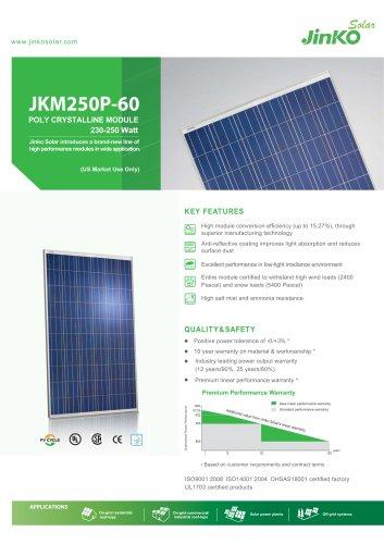 Standard Module for US:JKM250P-60(230W~250W) US