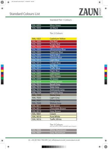 Zaun Standard Colours