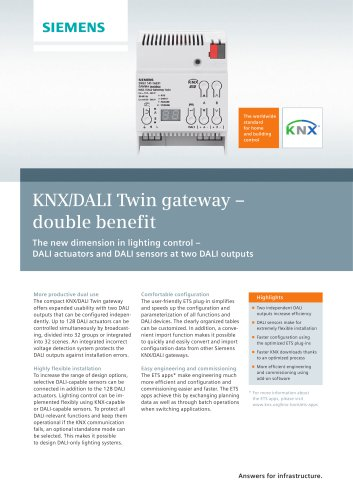 KNX/DALI Twin gateway ? double benefit