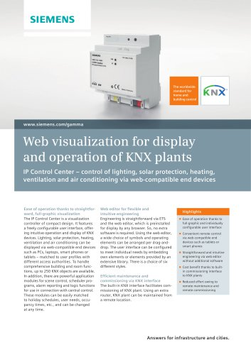 Web visualization for display and operation of KNX plants