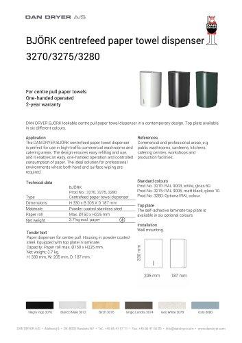 BJÖRK Centrefeed Paper Towel Dispenser, data sheet