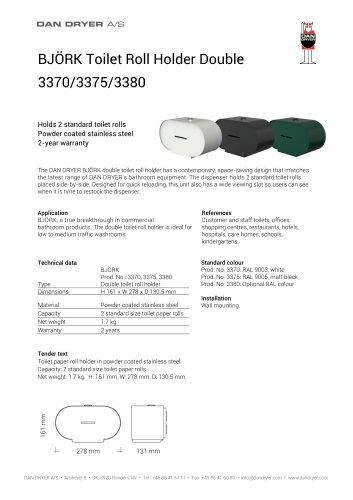 BJÖRK Toilet Roll Holder, double, data sheet