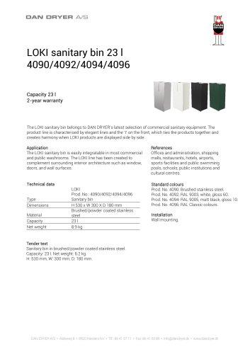 LOKI Waste Bin, 23 L, data sheet