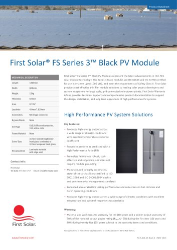 First Solar FS Series 3 Black PV Module