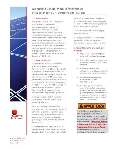 Manuale d?uso del modulo fotovoltaico First Solar serie 2 ? Versione per l'Europa