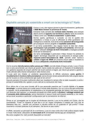Astrel Group - Case study - Rialto - Ospitalità sempre più sostenibile e smart con la tecnologia IoT Rialto