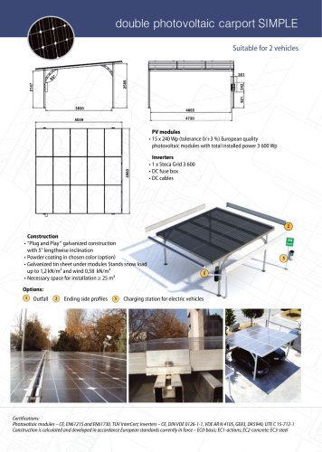 "Double photovoltaic carport ""SIMPLE"""