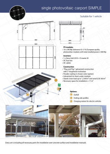 "Single photovoltaic carport ""SIMPLE"""