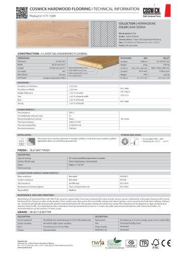 COSWICK HARDWOOD FLOORING Product # 1171-1509