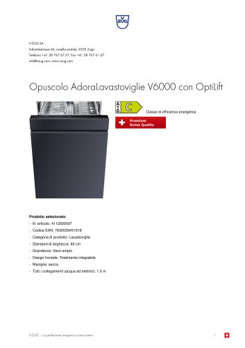 Opuscolo AdoraLavastoviglie V6000 con OptiLift