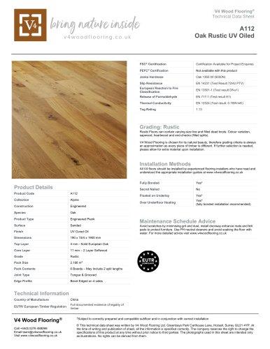 A112 Oak Rustic UV Oiled
